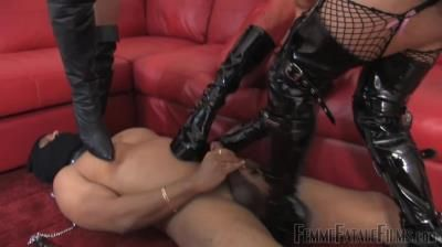 Femme Fatale Films: Goddess Aphrodite, Mistress B, Mistress Carly - Kicked To Cum - Complete Film