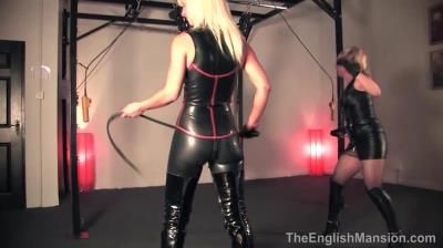 Bitch World Femdom: Mistress Vixen, Mistress Sidonia - Suspended Inverted Whipped
