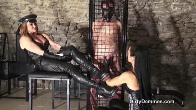 Dirty Dommes: Fetish Liza, Miss Miranda - Caged Boot And Glove Slave Milked Part 2