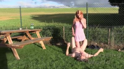 Ball Busting World: Sophia - Beer Garden Ballbusting