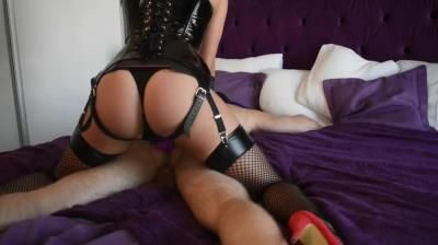 Clips4sale: Mad Tiny Kitty - Alt Girl In Latex Fucks Her Collared Sub And Makes Him Cum All Over Himself