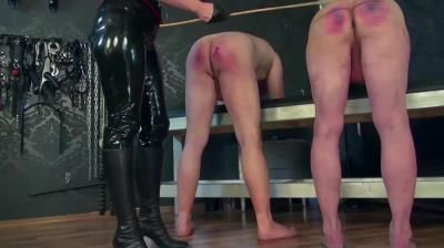 German Femdom: Lady Victoria Valente, Cane Treatment Of 2 Slaves